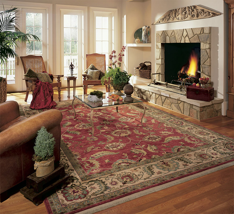 Living room with a lit fire place and a large ornate area rug on the floor - The Carpet Doctor Inc.